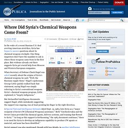 Where Did Syria's Chemical Weapons Come From?