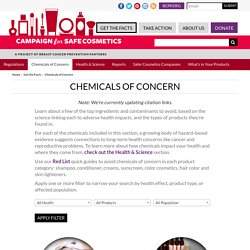 Chemicals of Concern - Safe Cosmetics