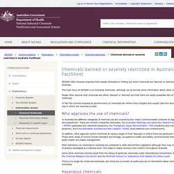 NICNAS_GOV_AU 11/08/16 Chemicals banned or severely restricted in Australia FactSheet