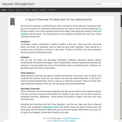 Aquatic Management: 4 Types of Chemicals You Must Have for Your Swimming Pool