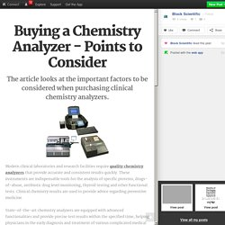 Buying a Chemistry Analyzer - Points to Consider