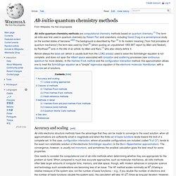 Ab initio quantum chemistry methods