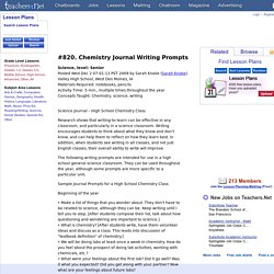 Chemistry Journal Writing Prompts (Senior, Science)
