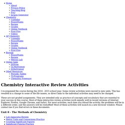 Chemistry Review Activities
