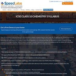 ICSE Class 10 Chemistry Syllabus: SpeedLabs