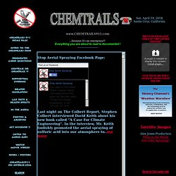 Chemtrails 911 - Exposing aerial crimes and aerosol operations,because it's an emergency!
