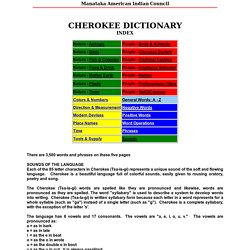 CHEROKEE DICTIONARY INDEX