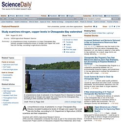 Study examines nitrogen, copper levels in Chesapeake Bay watershed