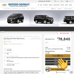 2021 Chevrolet Tahoe High Country at Westside Chevrolet