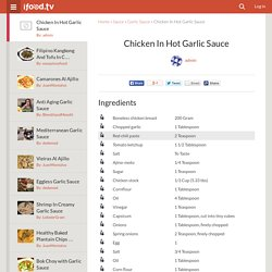 Chicken In Hot Garlic Sauce Recipe by admin