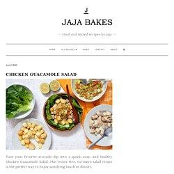 (add tomato and onion as req.- too much on recipe) Chicken Guacamole Salad - Jaja Bakes - jajabakes.com