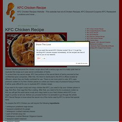 KFC Chicken Recipe Kentucky Fried Chicken Recipes