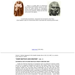 Chief Seattle's Speech of 1854 - Version 1