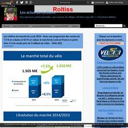 Les chiffres du marché du cycle 2014 - Avec une progression des ventes de 7,5 % en volume et 8,5 % en valeur, le marché du cycle en France se porte bien. Il s'est vendu près de 3 millions de vélos. - (Vélo 101) - Les actus du cyclisme