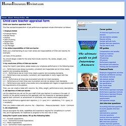 Child care teacher appraisal form