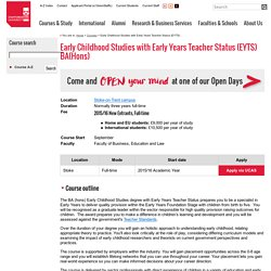 Early Childhood Studies with Early Years Teacher Status (EYTS) BA(Hons)