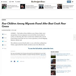 Four Children Among Migrants Found After Boat Crash Near Greece