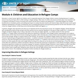 Children and Education in Refugee Camps