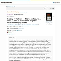 Reading in the brain of children and adults: A meta-analysis of 40 functional magnetic resonance imaging studies