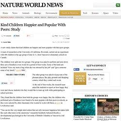 Kind Children Happier and Popular With Peers: Study : health-medicine : NatureWorldNews