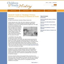 Introduction to Children & Youth in History Website
