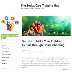 Secrets to Make Your Children Genius through Homeschooling – The Social Care Training Hub