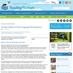 Young Children's Oral Language Development
