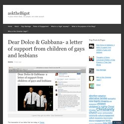 Dear Dolce & Gabbana- a letter of support from children of gays and lesbians
