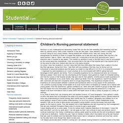 Child Nursing Personal Statement