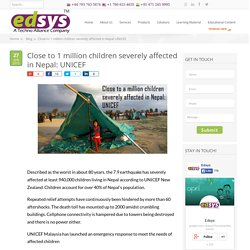 Close to 1 million children severely affected in Nepal: UNICEF