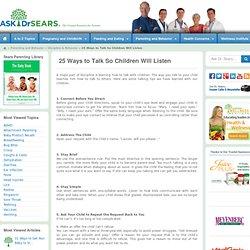 25 Ways to Talk So Children Will Listen