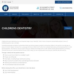 Childrens Dentistry Richmond, Melbourne