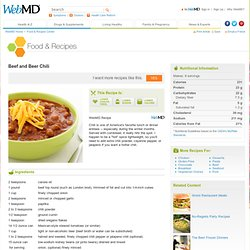 Beef and Beer Chili Recipe: Soup Recipes on WebMD