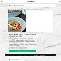 Sesampanerad tonfisk, chilimajonnäs och sojamarinerad sallad