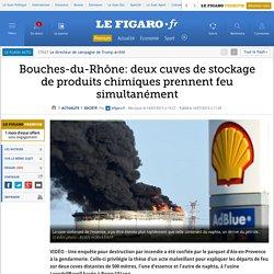 Bouches-du-Rhône: deux cuves de stockage de produits chimiques prennent feu simultanément