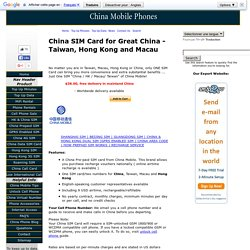 One China SIM card for Taiwan, Hong Kong and Macau