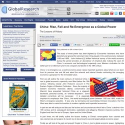 China: Rise, Fall and Re-Emergence as a Global Power
