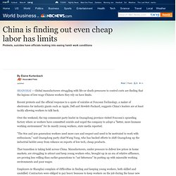 China finding out even cheap labor has limits - World business-
