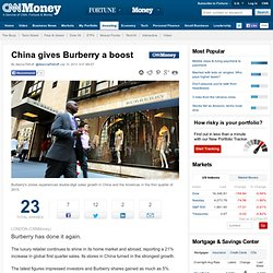 China gives Burberry a boost in Q1 - Jul. 10, 2013