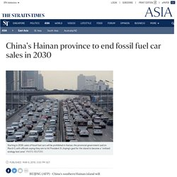 China's Hainan Province Ends Fossil Fuel Car Sales