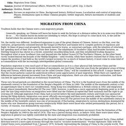 China Migration 4: Emigration