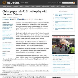 China paper tells U.S. not to play with fire over Taiwan