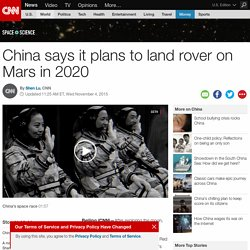 China says it plans to land a rover on Mars in 2020