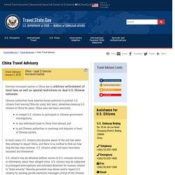 China Travel Advisory