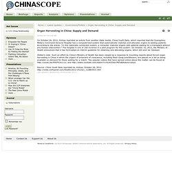 Organ Harvesting in China: Supply and Demand