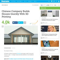 Chinese Company Builds Houses Quickly With 3D Printing