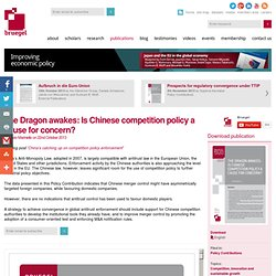 The Dragon awakes: Is Chinese competition policy a cause for concern?