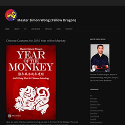 Chinese Customs for 2016 Year of the Monkey