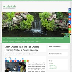 Learn Chinese from the Top Chinese Learning Center in Dubai Language