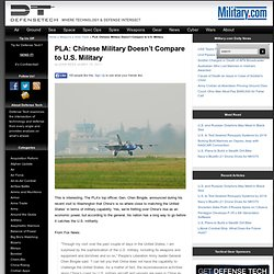 PLA: Chinese Military Doesn't Compare to U.S. Military